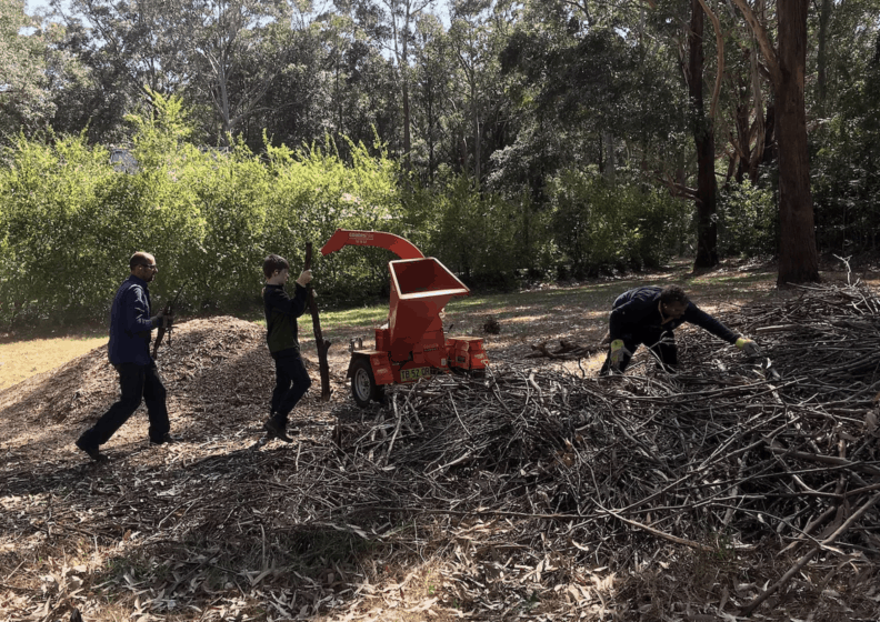 Three men went to mulch